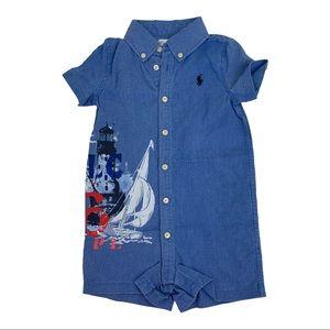 Ralph Lauren Boys Jean Button Up Shortalls 12M